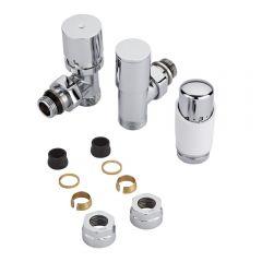 Robinet Radiateur Thermostatique Blanc & Chrome 3/4'' Mâle & Adaptateurs cuivre 16mm