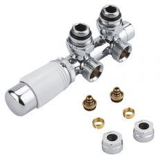 Robinet Radiateur Thermostatique Équerre d'Angle 3/4'' Mâle Blanc & Chrome & Adaptateurs multicouche 14mm
