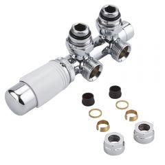 Robinet Radiateur Thermostatique Équerre d'Angle 3/4'' Mâle Blanc & Chrome & Adaptateurs cuivre 16mm