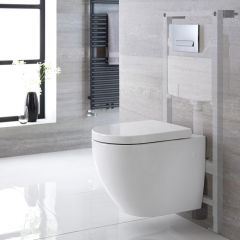 Pack WC Suspendu Ashbury - Bâti-support 115x50x18cm & Plaque de Déclenchement au Choix