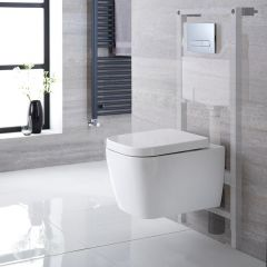 Pack WC Suspendu Milton - Bâti-support 115x50x18cm & Plaque de Déclenchement - Choix parmi 4 Modèles