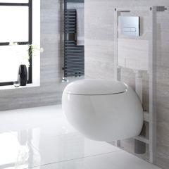 Pack WC Suspendu Langtree - Bâti-support 115x50x18cm & Plaque de Déclenchement - Choix parmi 4 Modèles