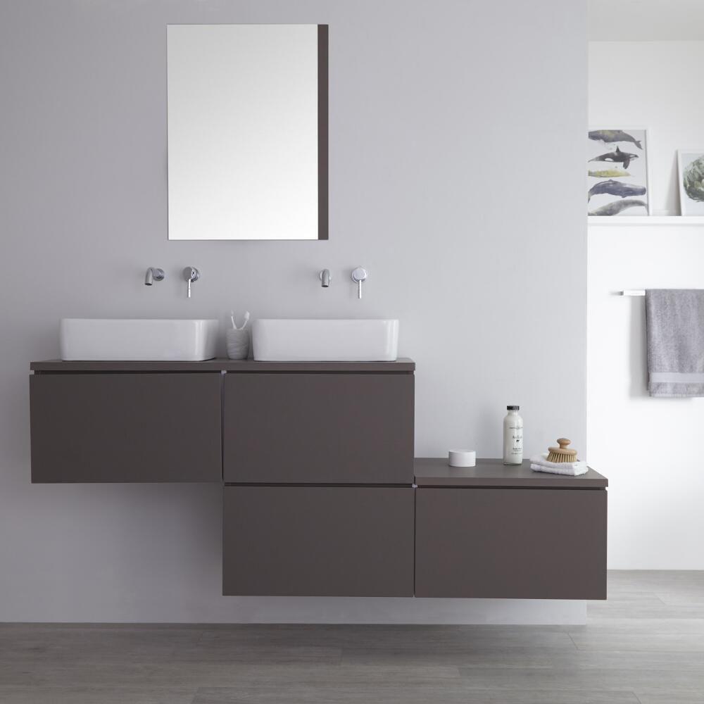 meuble double vasque à poser gris mat newington  180cm