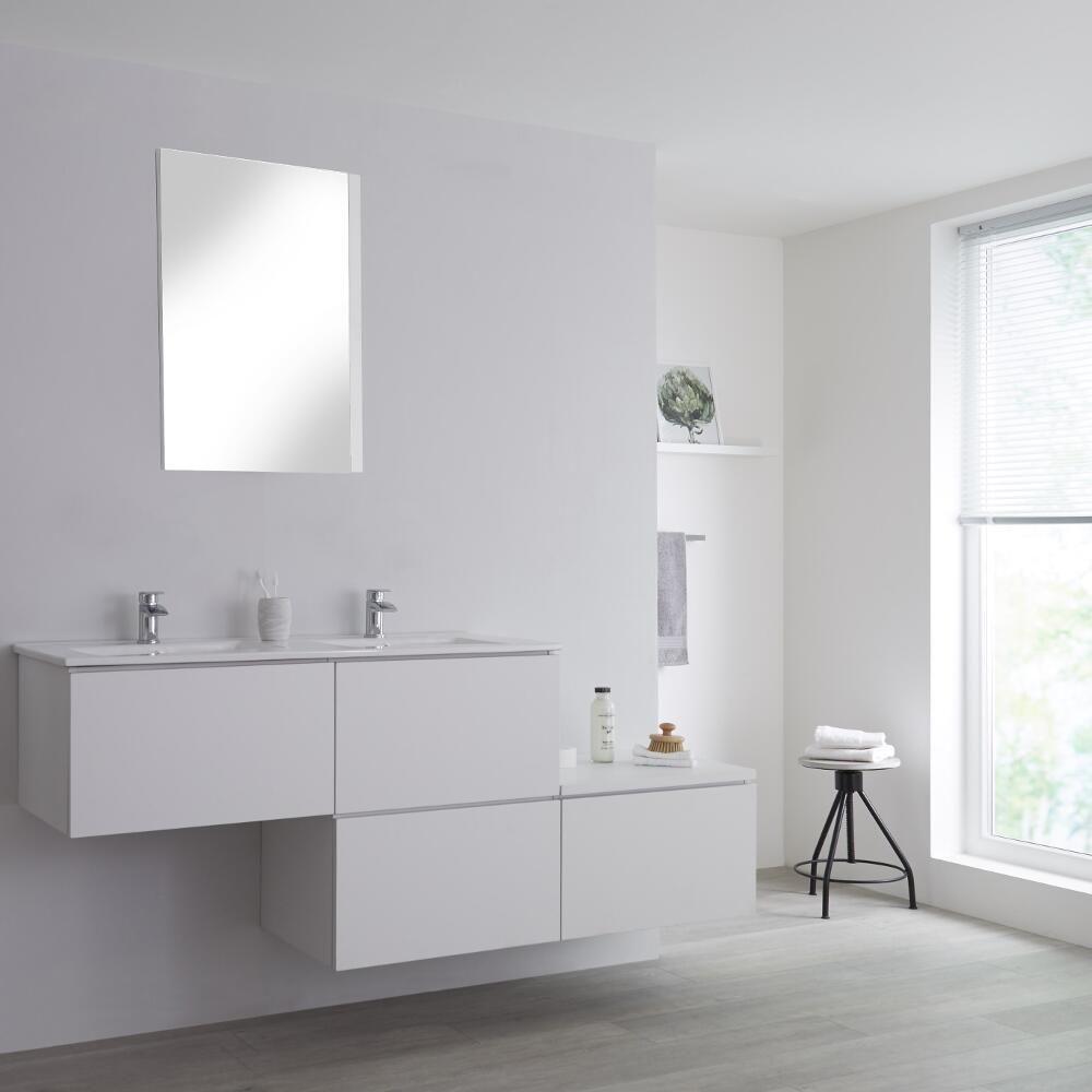 Vasque Sur Pied Avec Meuble meuble salle de bain avec double vasques encastrées - blanc newington -  180cm