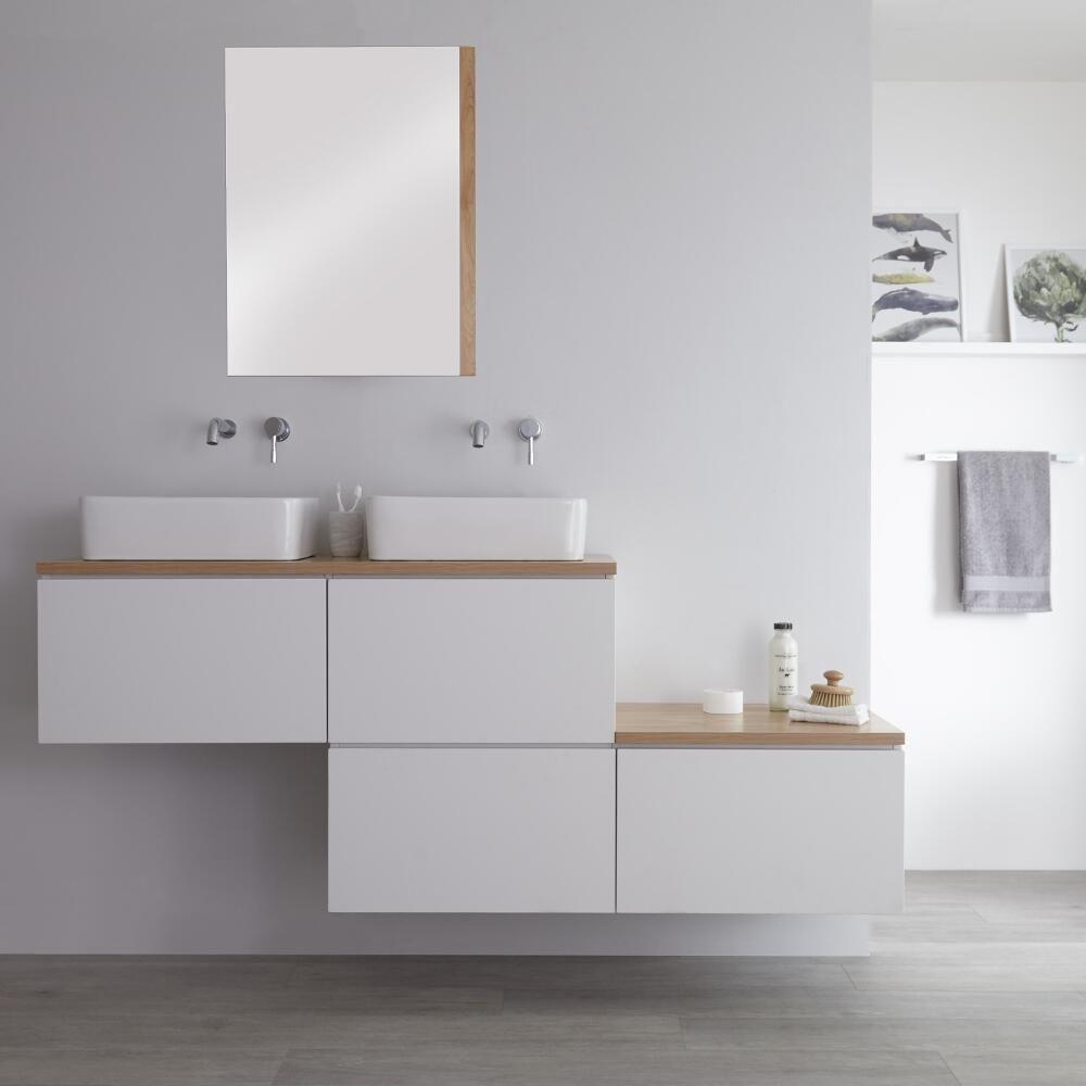 meuble double vasque à poser blanc avec plan chêne doré