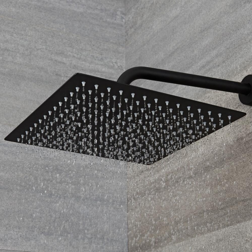 pommeau de douche carr noir 30x30cm nox