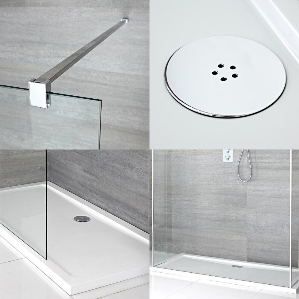 douche italienne en îlot avec receveur de douche et parois