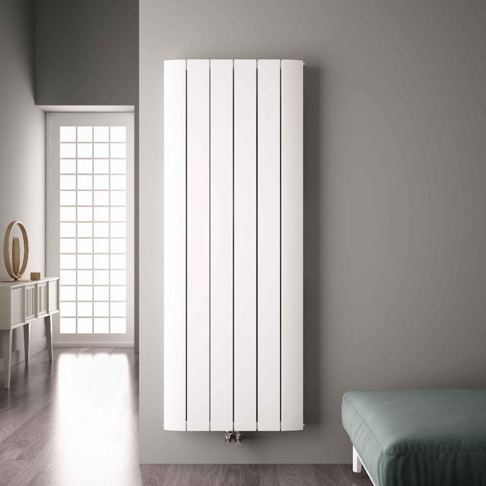 radiateur design vertical raccordement central aluminium blanc aurora 180cm x 56 5cm x 4 5cm. Black Bedroom Furniture Sets. Home Design Ideas