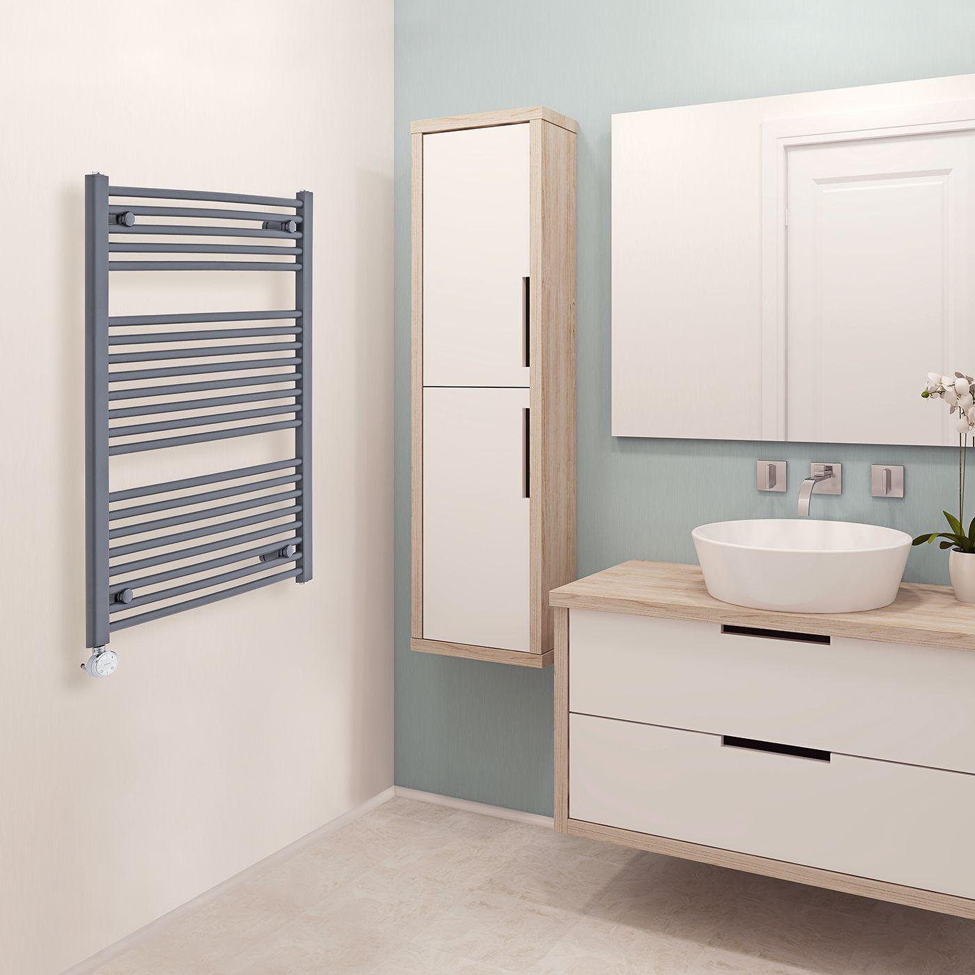 hudson reed s che serviettes lectrique incurv anthracite loa 100cm x 60cm x 5 2cm. Black Bedroom Furniture Sets. Home Design Ideas