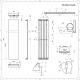 Trevi - Radiateur Vertical Design Blanc Minéral - 180cm x 45cm