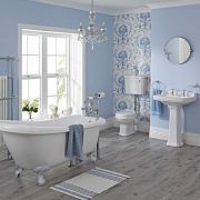Ensemble Lavabo WC Baignoire Îlot Pieds Blancs & Robinetterie Carlton