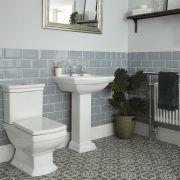 Lavabo sur colonne 2 Trous 60,5 x 47 x 88cm & Pack WC Rétro