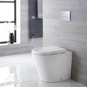 Cuvette WC ronde à poser avec abattant à fermeture douce – Blanc – Alswear