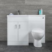 Meuble lavabo et toilette WC gauche – Blanc - Geo