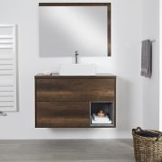 Meuble salle de bain chêne foncé avec vasque à poser - 100cm - 2 tiroirs