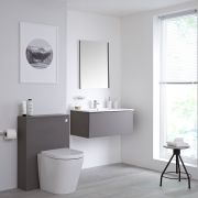 Meuble Lavabo Newington 80cm & Pack WC Gris Mat
