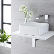 Vasque salle de bain à poser 36 x 36cm Alswear & Mitigeur Mural Razor