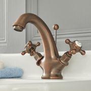 Mitigeur lavabo rétro à têtes en croisillon – Bronze huilé – Elizabeth