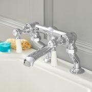 Robinet mélangeur baignoire rétro – Commandes leviers – Chrome et blanc - Elizabeth