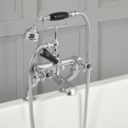 Robinet bain douche rétro – Commandes croisillons – Chromé et noir - Elizabeth