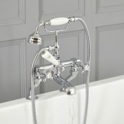 Robinet bain douche rétro – Commande croisillons – Chromé et blanc - Elizabeth