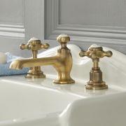 Mélangeur lavabo 3 trous – Commandes croisillons – Or brossé - Elizabeth