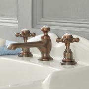 Mélangeur lavabo 3 trous – commandes croisillons - bronze huilé – Elizabeth
