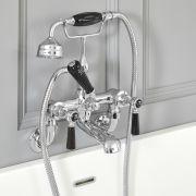 Mélangeur bain douche mural rétro – Commandes leviers – Chromé et noir - Elizabeth