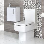 Ensemble meuble lave-mains suspendu avec plan vasque et pack WC – 40 cm – Choix de finition - Exton