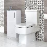 Ensemble meuble lave-mains à poser avec plan vasque et pack WC – 40 cm – Choix de finition – Exton