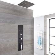 Colonne de Douche Thermostatique Encastrable 90x22cm avec Douchette 5 Buses & Pommeau Plafond 40cm - Llis