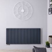 Radiateur Design Horizontal Raccordement Central Anthracite Vitality Caldae 63,5cm x 141,1cm x 7,8cm 2503 Watts