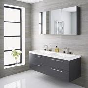 Meuble salle de bain double vasque 144x51x55cm Langley Gris