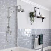 Colonne de douche rétro avec mitigeur exposé - Double fonctions – Chromé et blanc - Elizabeth