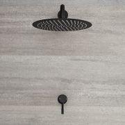 Kit de douche noir - Mitigeur mécanique encastrable & pommeau de douche Ø 30cm - Nox