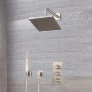 Mitigeur Thermostatique - Pommeau 20x20cm & Kit Douchette - Harting Nickel Brossé