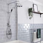 Kit de douche thermostatique avec colonne de douche rétro et mitigeur exposé à double fonctions – Chromé et noir - Elizabeth
