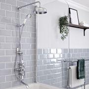 Kit colonne de douche avec mitigeur exposé à 2 fonctions – Bec verseur baignoire – Chromé et blanc - Elizabeth