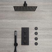 Kit de douche encastrable noir - Mitigeur thermostatique - Pommeau 30x30cm - 4 buses hydromassantes & Douchette - Nox