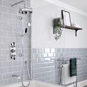 Kit de douche thermostatique à 3 fonctions avec inverseur - Pommeau de douche Ø 20 cm, bec verseur baignoire et kit douchette – Chromé et noir - Elizabeth