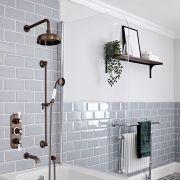 Kit de douche thermostatique à 3 fonctions avec inverseur - Pommeau de douche Ø 20 cm, bec verseur baignoire et kit douchette – Bronze huilé - Elizabeth