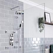 Kit de douche thermostatique à 3 fonctions avec inverseur - Pommeau de douche Ø 20 cm, buses hydromassantes et kit douchette – Chromé et noir - Elizabeth