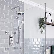 Kit de douche thermostatique à 3 fonctions avec inverseur - Pommeau de douche Ø 20 cm, buses hydromassantes et kit douchette – Chromé et blanc - Elizabeth