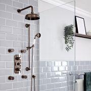 Kit de douche thermostatique à 3 fonctions avec inverseur - Pommeau de douche Ø 20 cm, buses hydromassantes et kit douchette – Bronze huilé - Elizabeth