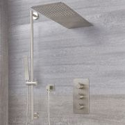 Mitigeur Thermostatique Douche - Pommeau Cascade & Kit Douchette - Harting Nickel Brossé