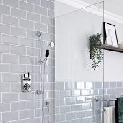 Kit de douche thermostatique 1 fonction – Douchette sur rampe – Chromé et noir - Elizabeth