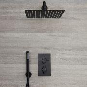 Kit de douche noir - Mitigeur thermostatique encastrable - Pommeau de douche carré 30 x 30cm & douchette - Nox