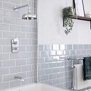 Kit de douche thermostatique à double fonctions avec inverseur – Pommeau rond Ø 20 cm plafonnier – Bec verseur baignoire – Chromé et blanc - Elizabeth