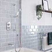 Kit de douche thermostatique à double fonctions avec inverseur – Kit douchette - Bec verseur baignoire – Chromé et blanc - Elizabeth