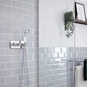 Kit de douche thermostatique – Kit douchette – Chromé et blanc - Elizabeth